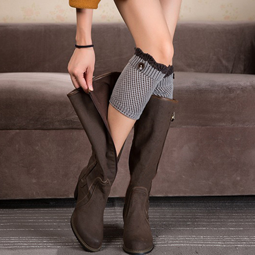 Women Crochet Knitted Lace Trim Boot Cuffs Toppers Leg Warmers Winter Socks NEW