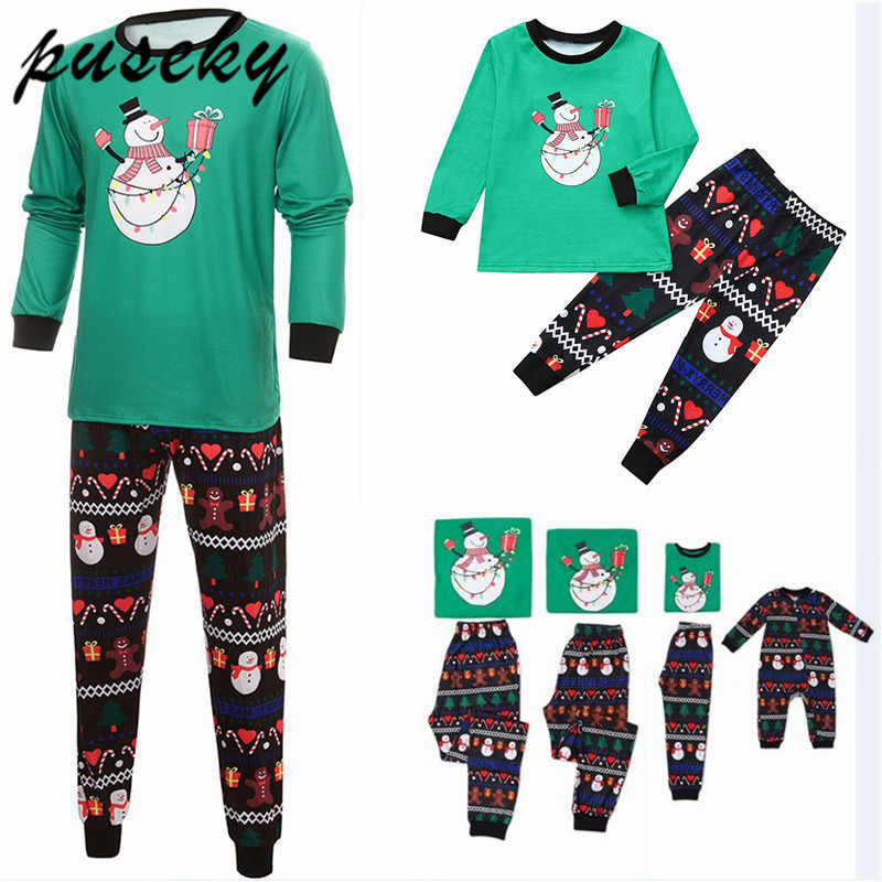2018 Brand Family Christmas Pajamas New Year Mother Daughter Outfits Family Matching Clothes Sleepwear Pajama Set Family Look