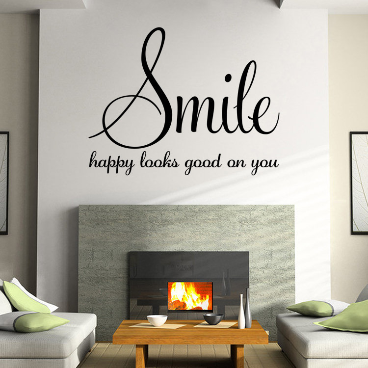 living room wall decal sayings family words smile quotes wall sticker poster living room 19066