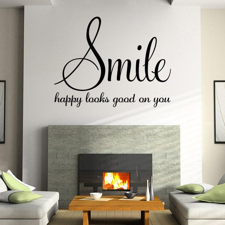 palabras familiares sonrisa etiqueta de la pared poster dormitorio sala de estar pegatinas de pared