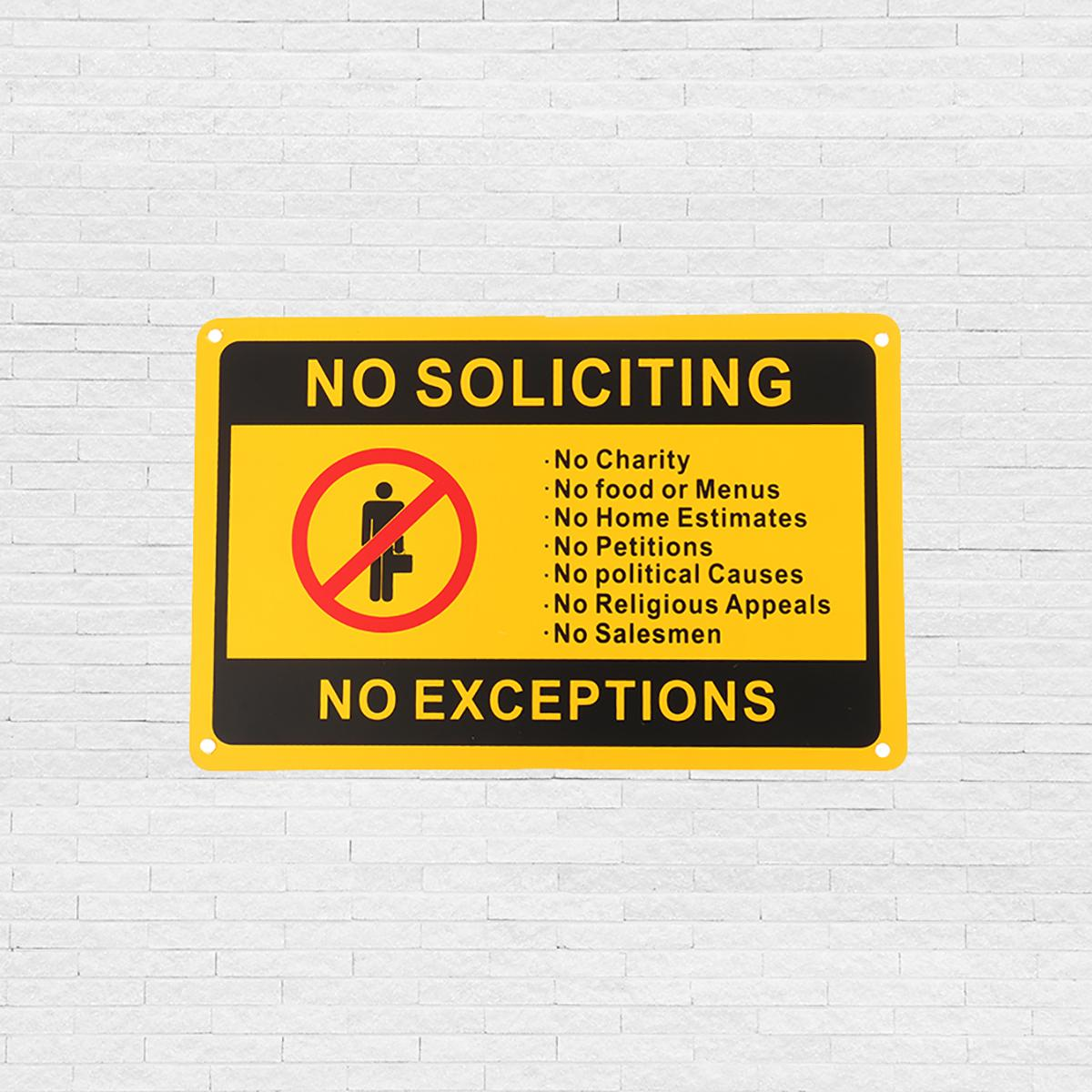 NEW NO SOLICITING NO EXCEPTIONS Front Door Security Sign Waterproof 11