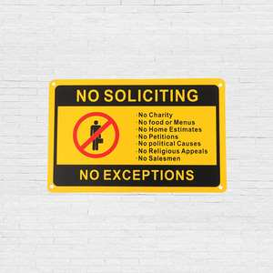 Security-Sign Safety No-Soliciting Workplace No-Exceptions Waterproof 11-Front-Door X7-/28x18cm