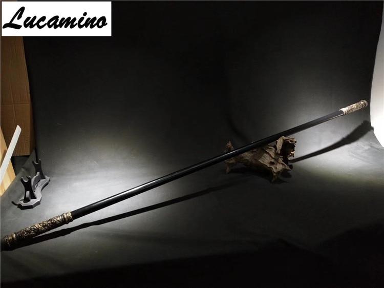 Solide haute manganèse acier singe roi long bâtons Invincible sculpture dragon or Cudgels Qitian Dasheng collection d'armes