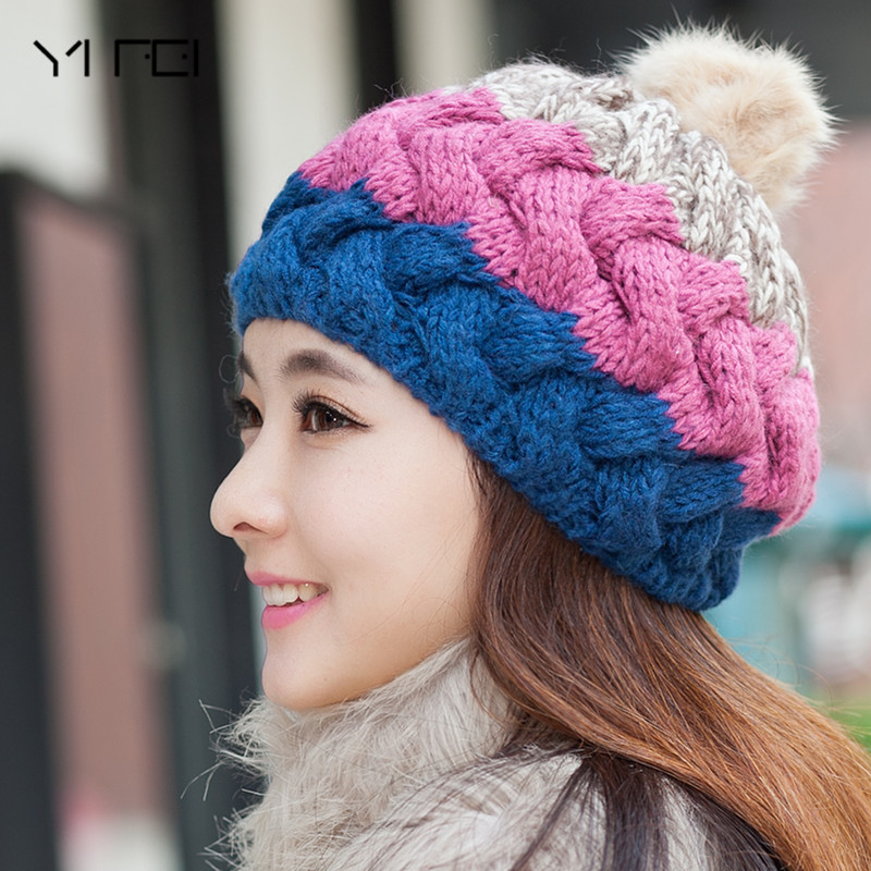 YIFEI Thick Warm Hats For Women Women's Winter Hat Knitted Warm Beanie Female Fashion Skullies Casual Outdoor Mask Ski Caps fibonacci winter hat knitted wool beanies skullies casual outdoor ski caps high quality thick solid warm hats for women
