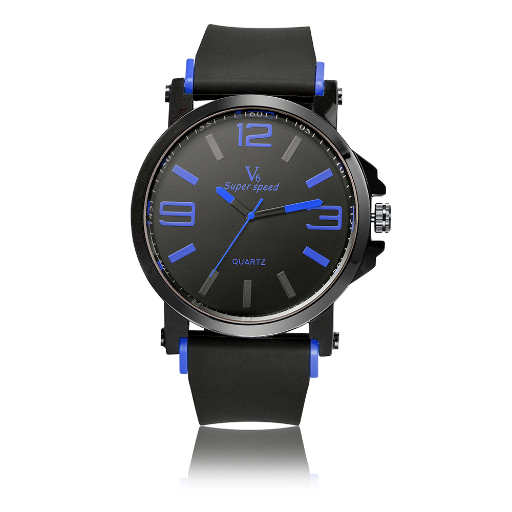 2017 Top Quality V6 Sport Brand Luxury Watch Men Clock Fashion Casual Big Dial Quartz Wrist Watches Boy Relogio Masculino big size dial plate fashion men s quartz leather watch wrist strap watches 8 type optional top quality