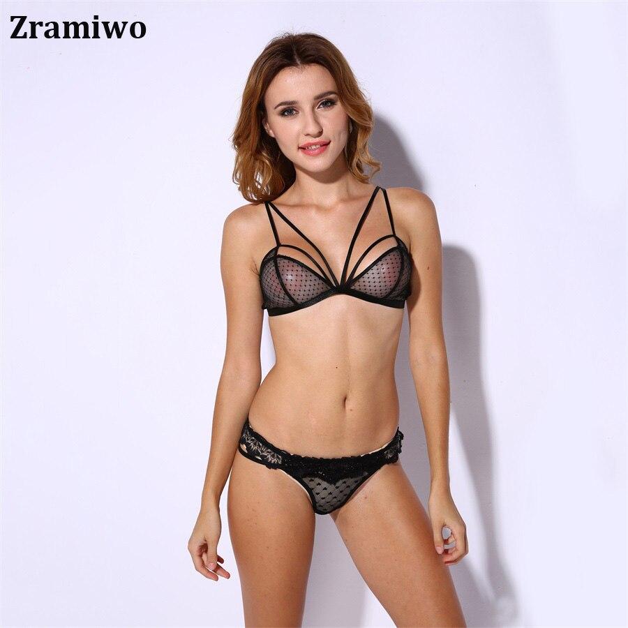 Zramiwo Wireless   Bra     Set   Cage Bralette Panty Sexy Dot Unlined Lingerie   Set   Transparente Underwear