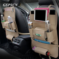 New Thickening Car Front Seat Back Cover Pu Leather Multifunctional Seat Back Pad With Storage Bag