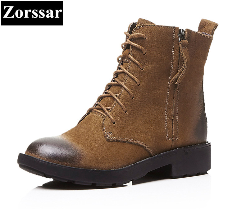 {Zorssar}Women Fashion Vintage Genuine Leather Shoes Female Spring Autumn Platform Ankle Martin Boots Woman Lace Up Casual Boots women led light shoes casual shoes led luminous boots unisex genuine leather ankle boots women usb charging martin boots 35 46