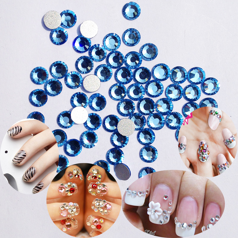 Light Sapphire SS3 to SS30 DIY Flat Back Blue Color Nail Art Stones Glue On Non  Hot Fix Rhinestones-in Rhinestones from Home   Garden on Aliexpress.com ... 71bce983b6e5