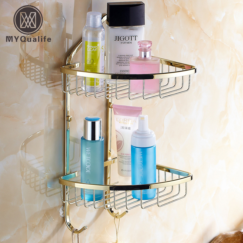 Brass Golden Double Wall Racks Kitchen Bathroom Shelving Storage Rack Bathroom Cosmetics Holder
