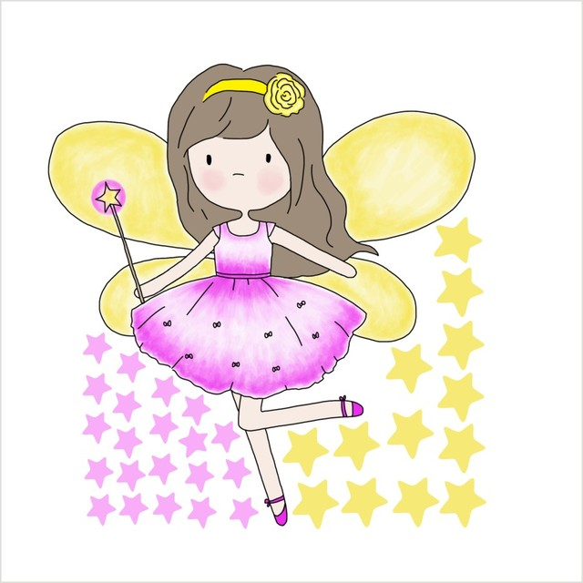 Beautiful Fariy Clipart Color Wall Sticker For Girl Bedroom Home ...