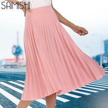 d75cf26584 Faldas de mujer de alta calidad primavera otoño verano estilo de mujer de  cintura alta plisada falda de longitud de moda calient.