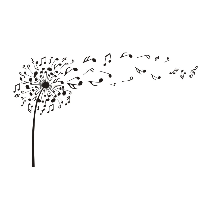 Creative Dandelion Music Notes Vinyl Diy Wall Stickers For
