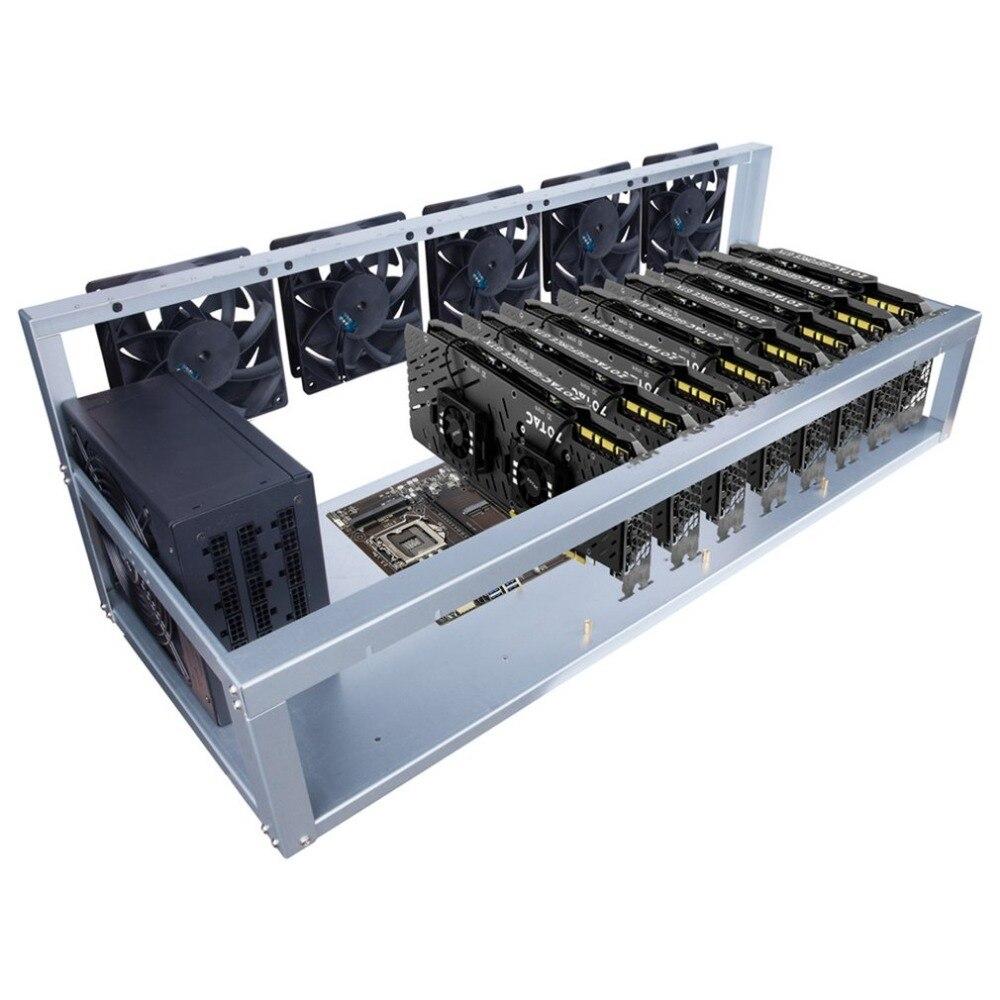 8 Grafikkarte GPU Bergbau Maschine Rahmen Mit 5 Lüfter USB PCI-E Kabel Computer BTC LTC Münze Miner Server fall