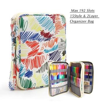 192 فتحات قدرة كبيرة كيس رصاص القضية المنظم التجميل حقيبة ل قلم رصاص الألوان المائية علامات جل أقلام هدايا عظيمة 1