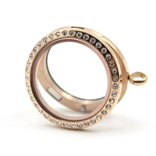 Rose Gold Crystal Magnetic Floating Locket 316L Stainless Steel Charms Memory Glass Pendant