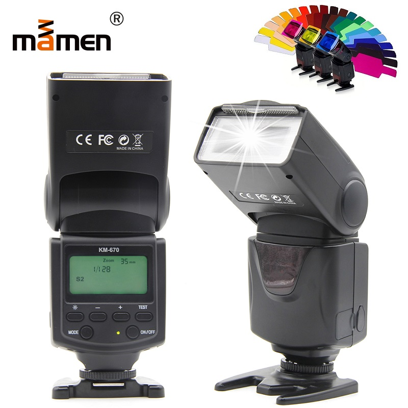 Mamen M S1 S2 Flash do Flash Da Câmera Para Nikon D5300 D3200 Tela Lcd Digital SLR Camera Speedlite Flash Para Canon 600D