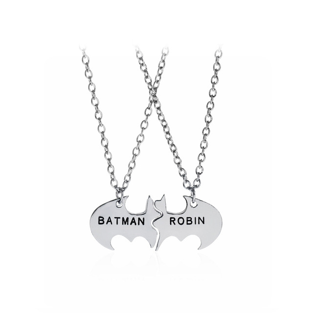 Collar de abalorios de BatMan Robin con forma de puzle, collares de BATMAN ROBIN Lettering link para hombre, ideal como regalo de Navidad para fiestas de disfraces de mejores amigos
