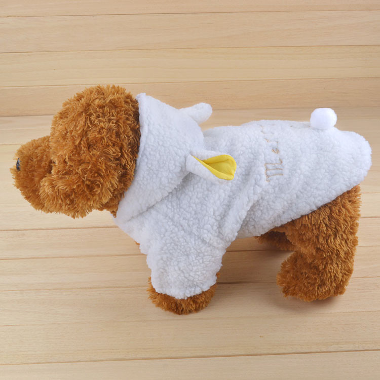Fashion Pet Costume Samll Dog Clothes Coat White Sheep Puppy Hoodie Chihuahua Clothing In Winter Warm Apparel Size XS S M L XL 1164