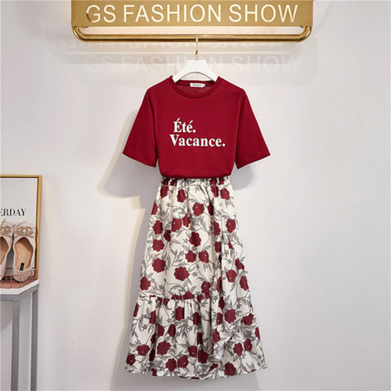 2019 New Fashion Summer Women's Portrait Printing Tshirt + Hgih Waist Long Printing Skirt Two Piece Female Students Skirt Suits