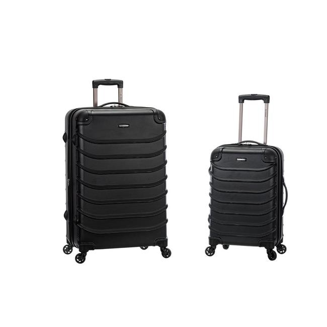 Rockland F230-BLACK 20 x 28 in. Speciale Expandable Abs Spinner Suitcase Set Black - 2 Piece pm company expandable dark green transit sack 18w x 4d x 14h 04647 dmi ea