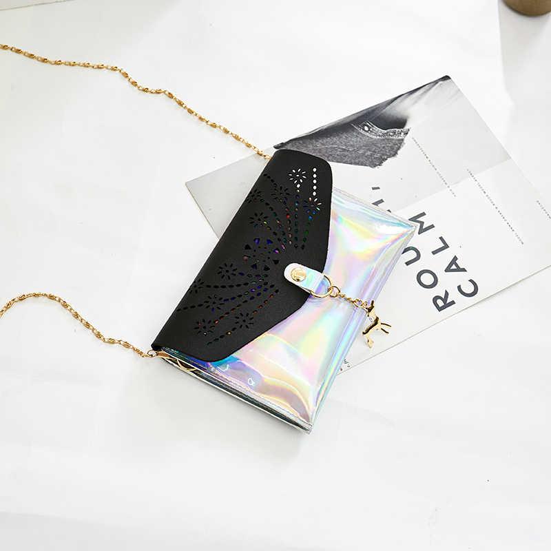 Модная лазерная сумка на цепочке женские Сумки из искусственной кожи открытые сумки через плечо для женщин сумки-мессенджеры мини сумка с оленем