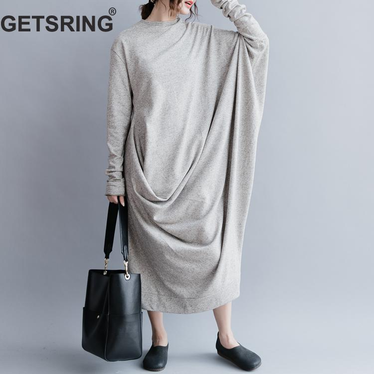 GETSRING Women Dresses Long Dress 2018 Autumn Oversized Solid Cotton Full Sleeve Dress Womens Casual Wear Plus Size Women Cloths