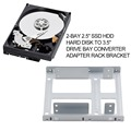 "Aluminum 2-Bay 2.5"" SSD HDD Hard Disk to 3.5"" Drive Bay Converter Adapter Rack Bracket Hot Worldiwde Promotion"