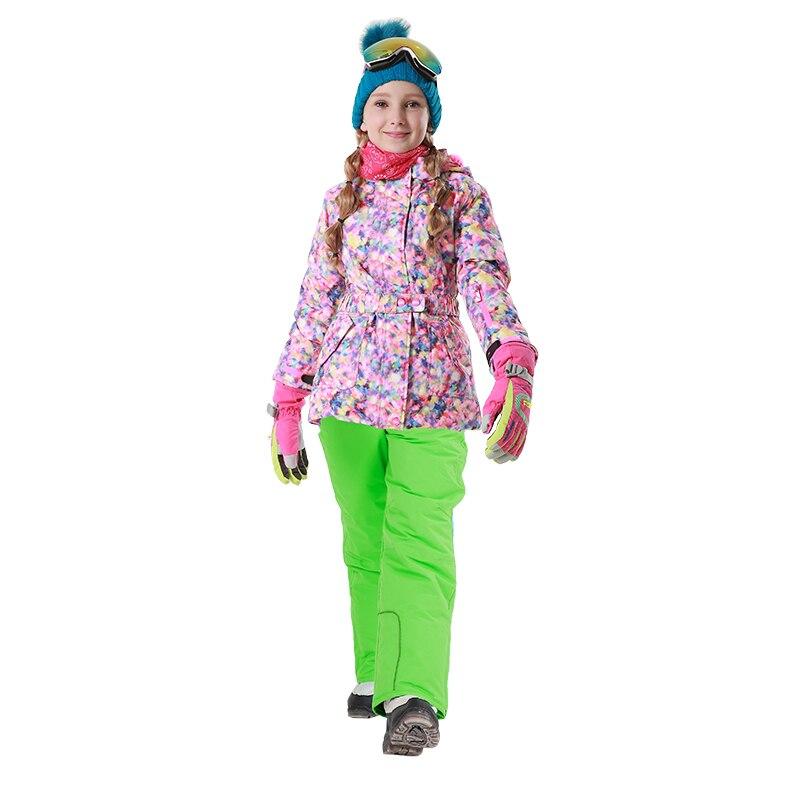 Mioigee 2018 Winter Outdoor Children Set Windproof Ski Jackets Pants Kids Ski Snow Sport Sets Warm Skiing Suit for Girls Clothes marsnow waterproof children s boys girls snow ski suits set outdoor wear hooded jackets pants kids winter warm sport coat sets