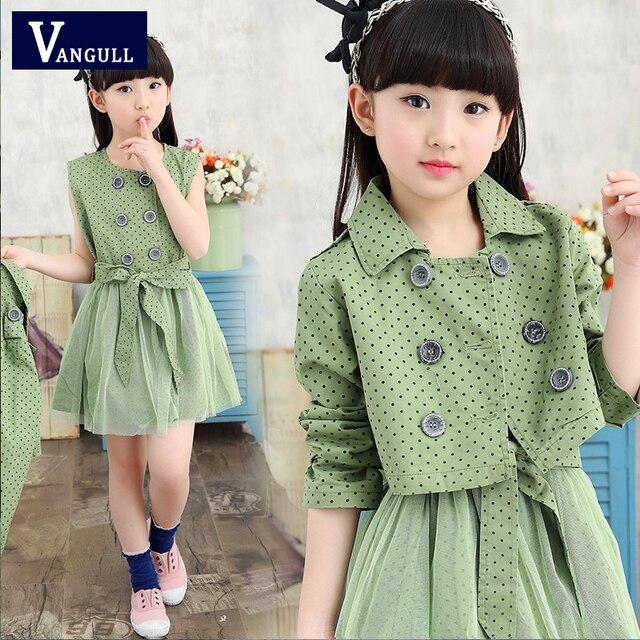 Girls spring suit 2016 new Korean dress coat + two sets of children's leisure suit 4 color Polka Dot Dress Set