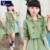 Niñas traje de primavera 2016 nuevo vestido Coreano de la capa + dos juegos de los niños del juego del ocio 4 colores Polka Dot Dress conjunto