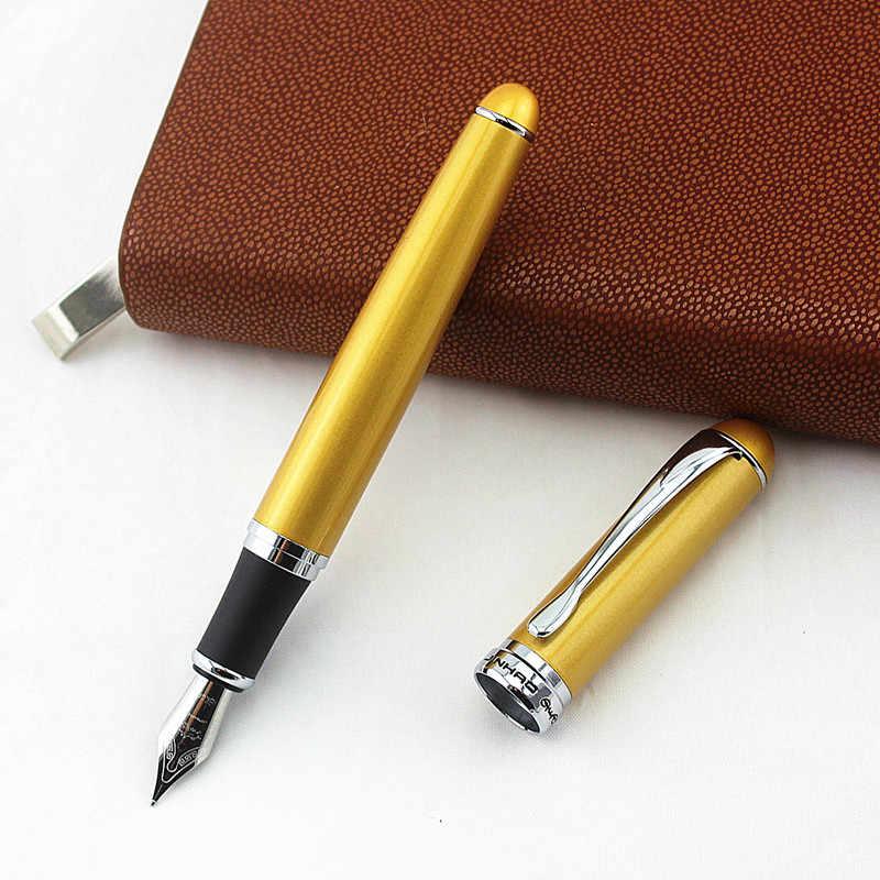 Alta qualidade de luxo jinhao 750 caneta fonte metal 0.5mm médio nib tinta canetas material escritório escola negócios canetas
