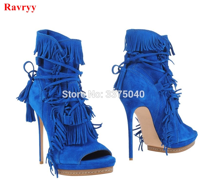 Ravryy Fashion Women Fringed Ankle Boots High Heels Ladies Shoes Tassel Lace Up Design Female Women boots summer fashion shoes suede tassel stiletto high heels shoes peep toe lady ankle boots fringed lace up platform sandal boots