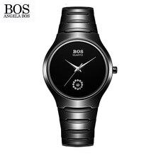 АНЖЕЛА BOS Холодный Черный Нержавеющей Стали Керамические Часы Стразами Кварцевые часы Мужские Часы Лучший Бренд Класса Люкс 2016 Часы Для мужчины