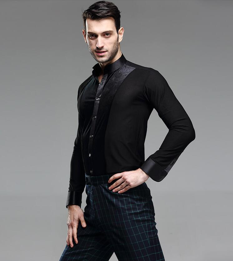 2019 New Mens Latin Dance Shirt Competition Performance Ballroom Modern Salsa Tango Samba Latin Mens Shirts Boys Dancewear