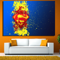 Printed Paintball Dc Comics Superman Logo Blue Painting Children S Room Decor Print Poster Picture Canvas