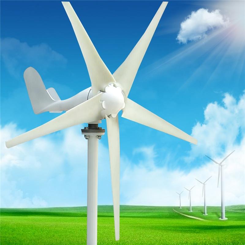 S Type 5 Nylon Fiber Blade Wind Turbines White Horizontal Home Power Energy Generator Windmill For Sightseeing цена