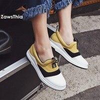 ZawsThia Round Toe Fashion Girl S Flats Platform Vulcanized Shoes Casual Loafers Walking Shoes Women Sneakers