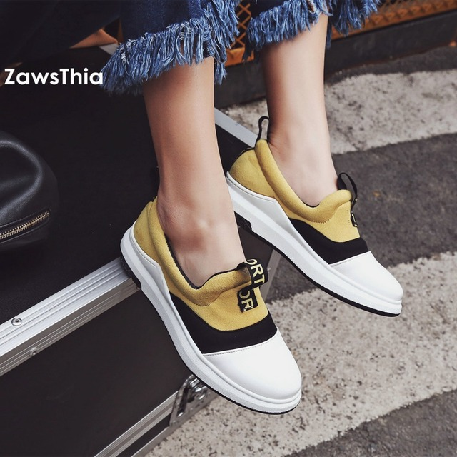 ZawsThia round toe fashion girl s flats platform vulcanized shoes casual  loafers walking shoes women sneakers creeper boat shoes 06ac8fa42d65