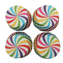 100 pcs Colorful Rainbow Cooking Tools Grease-proof Paper Cup Cake Liners Baking Cup Muffin Kitchen Cupcake Cases Cake Mold water proof grease