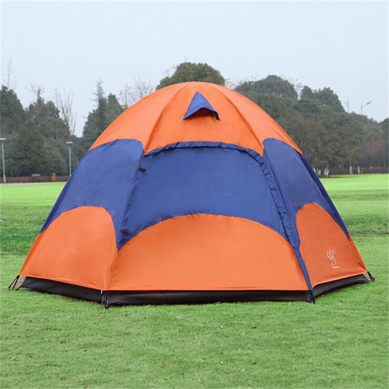 3-4 Person Large Camping Tent Double Layer Sun Shade UV Beach Tent Tourists carpas camping tente Big Outdoor Hexagon Family Tent outdoor 2 rooms camping awning tent large tourist two bedrooms 4 person naturehike hiking family barraca tente gazebo carpas