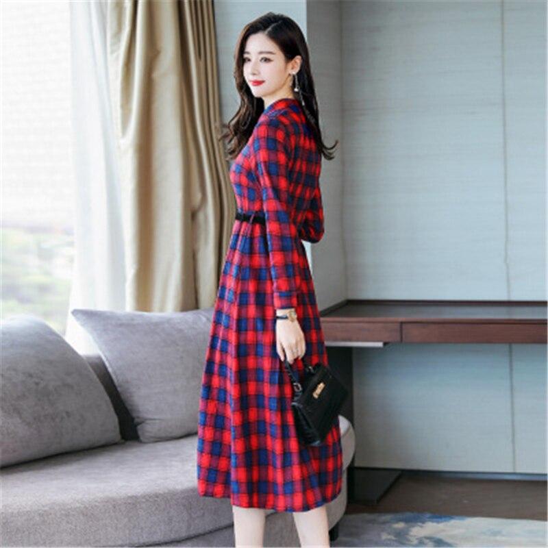 Femmes robes 2019 nouveau printemps automne robe décontracté élégant Plaid femme robe col en v simple bouton dames longue robe T17 - 2