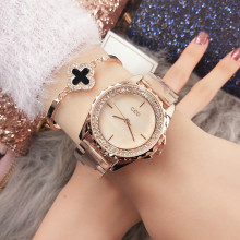 New ladies watch Rhinestone Leather Bracelet Wristwatch Women Fashion Watches Ladies Alloy Analog Quartz relojes