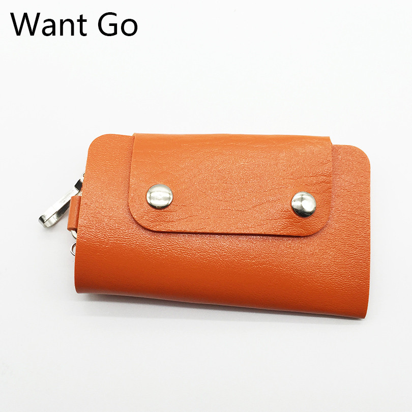 Want Go Unisex Women Men Fashion Pocket Key Wallets Bags Portable Solid Pu Leather Key Rings Holders Cufflinks Keyboard Bags