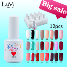 DHL Uv Nail Gel Soak Off Polish Christmas Colors Set (1 base+10colors+1 top )