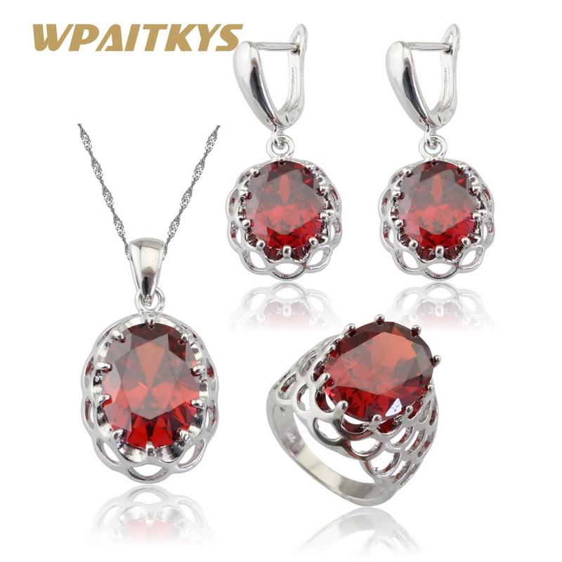 WPAITKYS Piedras rojas Cubic Zirconia Conjuntos de joyería nupcial de color plateado Pendientes / Colgante / Collar / Anillos Para mujeres Caja de regalo gratis