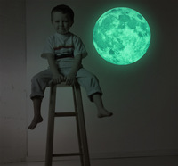 3D Wall Stickers Luminous Lunar Earth Stickers 30cm 30cm Fluorescent Stars Patch Plastic Three Dimensional Luminous