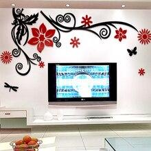Pegatinas de pared flores Afortunadas 3D gran árbol decoración de la habitación pegatina 2mm Decoración para el Hogar BRICOLAJE autoadhesivo