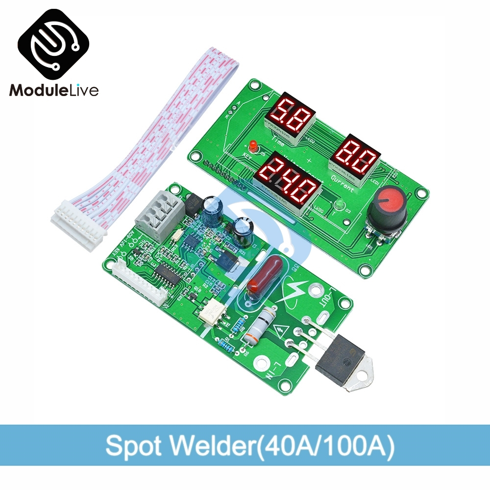 Digital LCD  Single Pulse Encoder Spot Welder  Machine Time Control Digital Tube Weld Welding Module Board 40A/100A Red