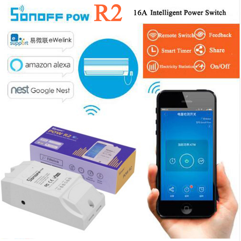 Sonoff Pow R2, 16A Power Energy Meter Monitor Drahtlose WiFi Schalter mit Timing Sharing Funktion Fernbedienung Smart Home Modul